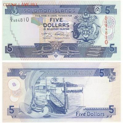 Соломоновы острова 5 долларов 2008 год Пресс UNC - 110 руб - 5