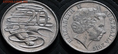 Австралия 20 центов 2016 Утконос - Австралия 20 центов 2016 Кашелот  10-3-2