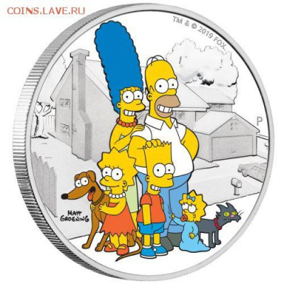 Кошки на монетах - 0-02-2019-The-Simpsons-Family-2oz-Silver-Proof-Coin-OnEdge-HighRes