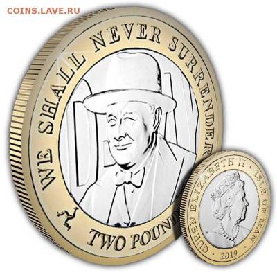 Биметаллические монеты Мира_новинки - Isle-of-Man-2019-D-Day-Churchill-Coin-1