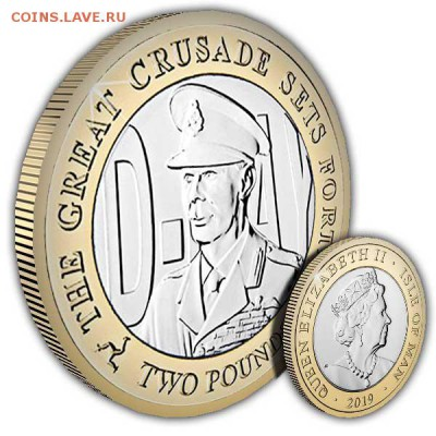 Биметаллические монеты Мира_новинки - Isle-of-Man-2019-D-Day-King-George-VI-Coin-1