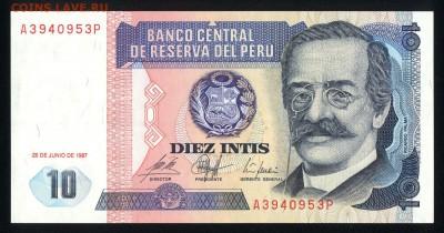 Перу 10 инти 1987 unc 11.03.19. 22:00 мск - 2