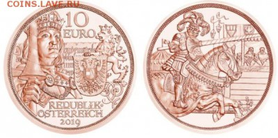 План выпуска монет Австрии на 2019 год - Австрия, 10 евро 2019г., Рыцарь