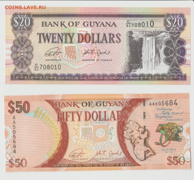 Гайана 20 и 50 долларов 2009-16 UNC ФИКС до 16.03 22:10 - IMG_20190206_0001