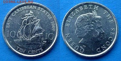 Восточные Карибы - 10 центов 2009 года (Парусник) до 28.03 - Восточные Карибы 10 центов 2009