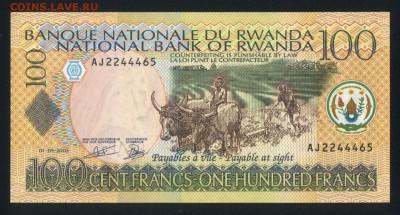 Руанда 100 франков 2003 unc 12.04.19. 22:00 мск - 2