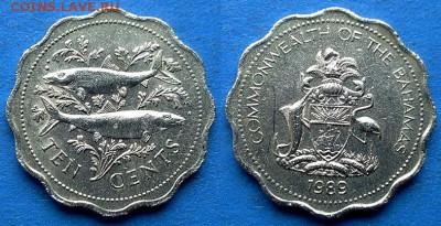 Багамы - 10 центов 1989 года (Рыбы) до 3.05 - Багамы 10 центов 1989