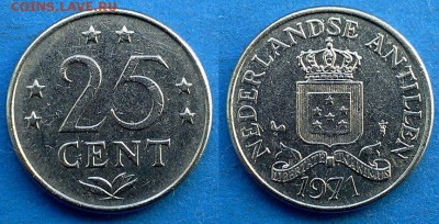 Нидерландские Антильские острова - 25 центов 1971 до 9.05 - Нидерландские Антильские острова 25 центов 1971