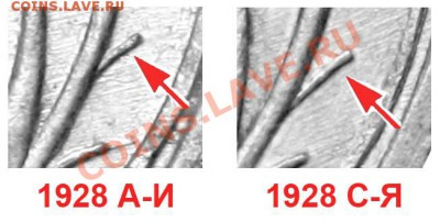 10 копеек 1928. Разновидности - 10 копеек 1928 - ветка