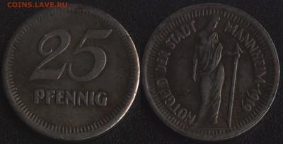 Нотгельды Германии по фиксированной цене - Маннхейм 25 пфеннигов 1919 (продажа)