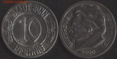 Нотгельды Германии по фиксированной цене - Бонн 10 пфеннигов 1920 -100