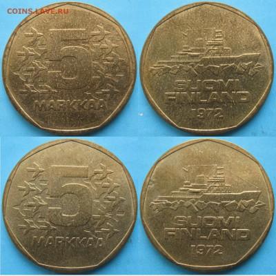20 драхм 1992г. 2-монеты - Финляндия 5 марок 1972