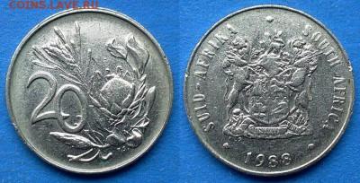 ЮАР - 20 центов 1988 года до 24.05 - ЮАР 20 центов 1988