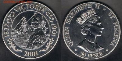 """Остров Святой Елены 50 пенсов 2001 """"Виктория"""" до 24.05.19 - SH_KM#20_18052019"""