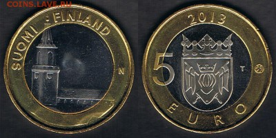 """Финляндия 5 евро 2013 """"КС Турку"""" до 15.06.19 в 22:00 - Finland_KM#213_09062019"""