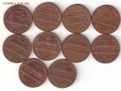 США 1цент-10 монет (1969-79г.г.) - 1 Цент-10шт А 69-79