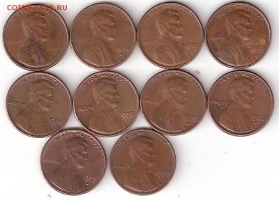 США 1цент-10 монет (1969-79г.г.) - 1 Цент-10шт Р 69-79