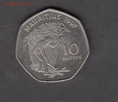 Маврикий 1997 10 рупий  без оборота до 27 08 - 211а