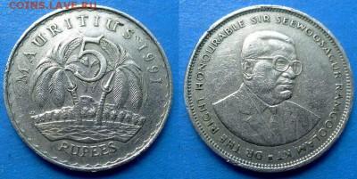 Маврикий - 5 рупий 1991 года (Пальмы) до 9.09 - Маврикий 5 рупий, 1991