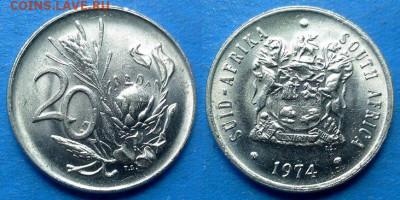 ЮАР - 20 центов 1974 года в блеске до 01.10 - ЮАР 20 центов, 1974