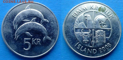 Исландия - 5 крон 2008 года (Фауна) до 9.11 - Исландия 5 крон, 2008
