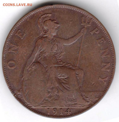 Великобритания 1 пенни 1914 г. до 24.00 09.11.19 г. - 044