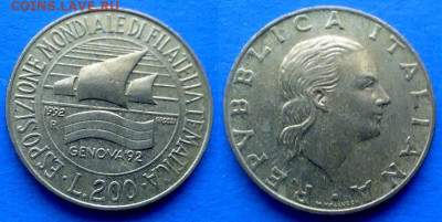 Италия - 200 лир 1992 года (Выставка марок в Генуе) до 9.11 - Италия 200 лир, 1992