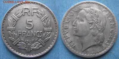 39.Монеты Франции 1931-1958г. - 39.32. -Франция 5 франков 1947    180-ас54-4014