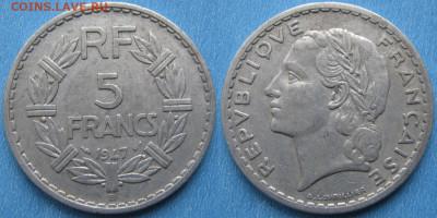 39.Монеты Франции 1931-1958г. - 39.34. -Франция 5 франков 1947 В    175-АС33-2774