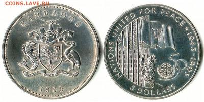 Барбадос - Барбадос 5 долларов 1995 KM-62