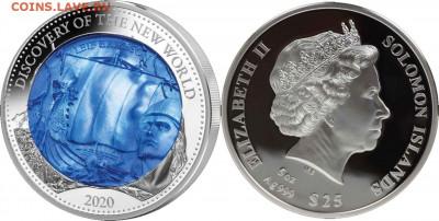 Монеты с Корабликами - Соломоновы о-ва 25$ 2020