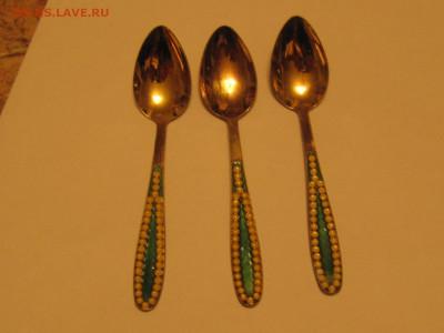 Чайные ложки 5шт серебро эмаль, звезда916, 77 гр - IMG_4125.JPG