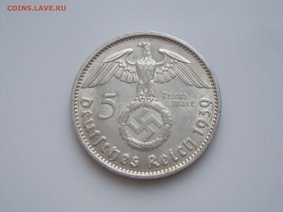 """Третий Рейх, 5 Марок 1939 """"J"""", Гинденбург, до 17.01 - 1939J (1)"""