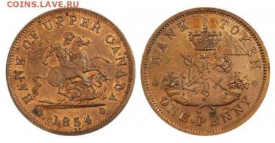 Банковские токены Канады. Описание, типы, разновидности. - token-upper-canada-bank-penny-1854-g