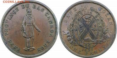 Банковские токены Канады. Описание, типы, разновидности. - token-quebec-bank-penny-1837-g