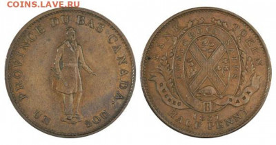 Банковские токены Канады. Описание, типы, разновидности. - token-quebec-bank-half-penny-1837-g Токен ½ Пенни (1 СУ), 1837 Quebec Bank