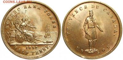 Банковские токены Канады. Описание, типы, разновидности. - token-quebec-bank-half-penny-1852-ms60-g