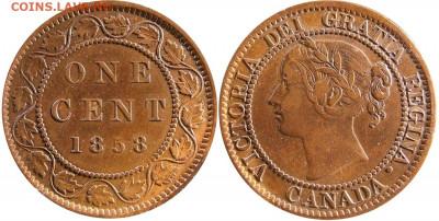 Канада. Монеты периода правления королевы Виктории 1858-1901 - image-1-cent-1858-g