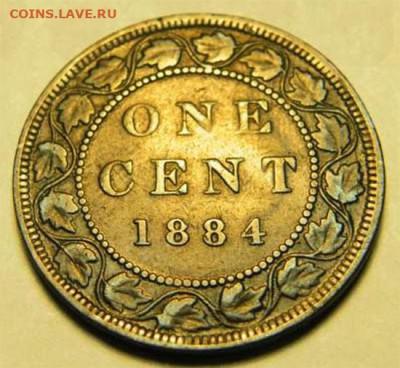 Канада. Монеты периода правления королевы Виктории 1858-1901 - 1-cent-1884-ghosting-1884
