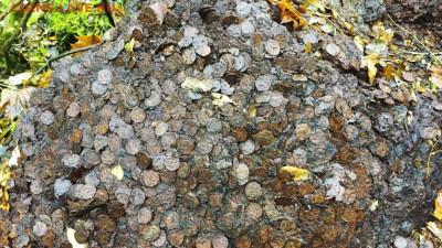 Горы монет за забором монетного двора. - 11139903
