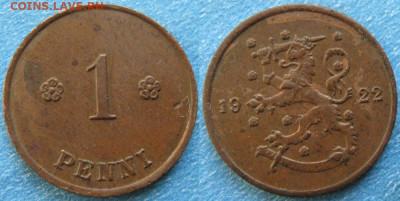 18.Монеты Финляндии - 18.23. -Финляндия 1 пенни 1922    188-ас50-9727