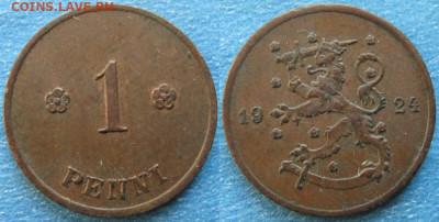 18.Монеты Финляндии - 18.24. -Финляндия 1 пенни 1924    188-ас50-9726