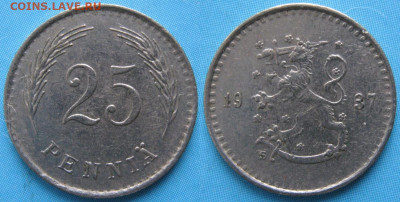 18.Монеты Финляндии - 18.28. -Финляндия 25 пенни 1937    160-ак2-3612
