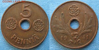 18.Монеты Финляндии - 18.36. -Финляндия 5 пенни 1941    188-ас50-9724