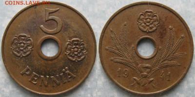 18.Монеты Финляндии - 18.37. -Финляндия 5 пенни 1941     180-к44-9922
