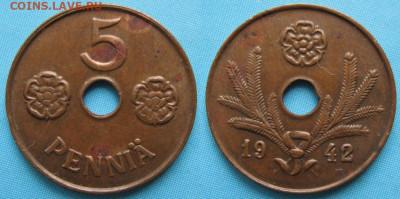 18.Монеты Финляндии - 18.38. -Финляндия 5 пенни 1942    168-ак3-3571