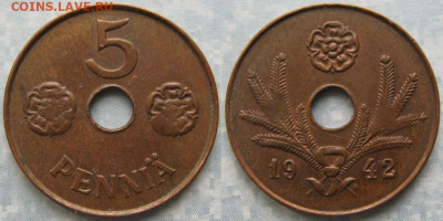 18.Монеты Финляндии - 18.39. -Финляндия 5 пенни 1942    187-ас47-9690