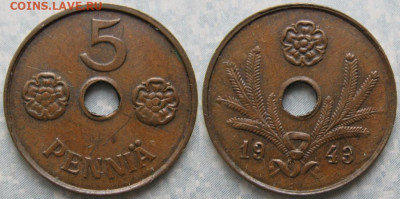 18.Монеты Финляндии - 18.40. -Финляндия 5 пенни 1943     180-к44-9923
