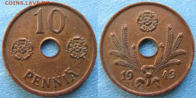 18.Монеты Финляндии - 18.45. -Финляндия 10 пенни 1943    188-ас50-9721