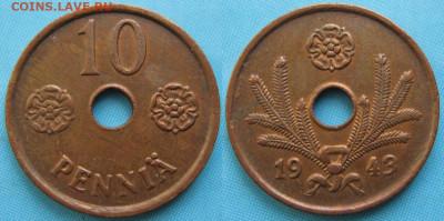 18.Монеты Финляндии - 18.46. -Финляндия 10 пенни 1943    3357